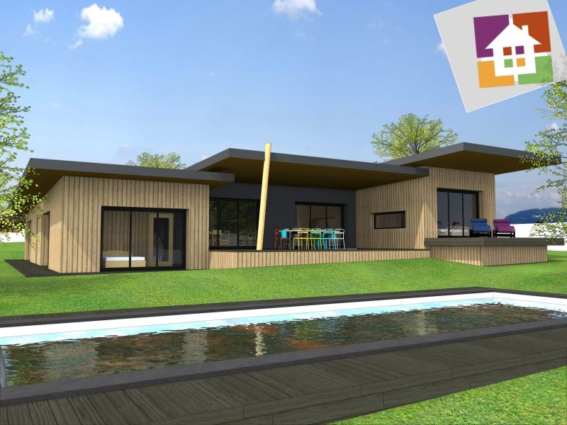 Stunning plan maison plain pied passive pictures for Plan maison 120m2