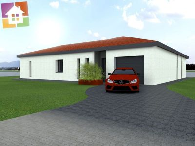 DUP151 plain pied 2 chambres dont 2 suites +studio+ séjour salon+garage simple