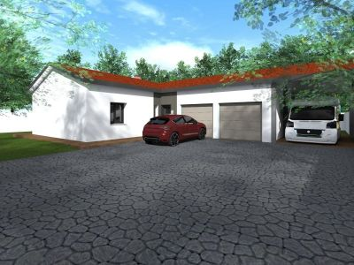 ORL141 plain pied en L 3 chambres + séjour salon + garage simple + carpot